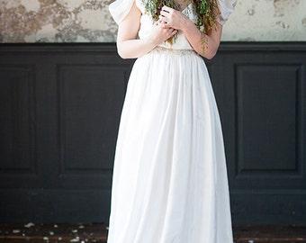 Chiffon wedding dress Bohemian wedding dress Alternative wedding dress ethereal wedding dress off shoulder wedding dress plus size |  Agatha
