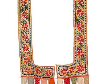 VINTAGE TEXTILE - Pair of Vintage Applique Sankhia with pennants. Gujarat. c1920