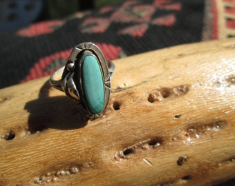 Malachite and Sterling Feather Ring Size 8