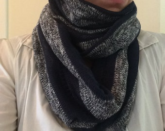 Navy and Gray Sweater Knit Infinity Scarf