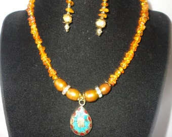 Gorgeous Coral Turquoise Amber Necklace Set*****.
