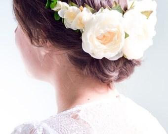 Ivory flower crown, Floral crown, Floral halo, Ivory bridal crown, Floral headpiece, Bridal floral crown - PAONIA