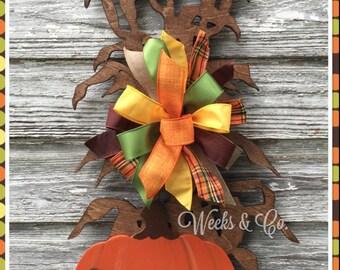 Fall Corn Stalks with Pumpkins and Gourd - Fall Door Hanger - Front Door - Harvest Time