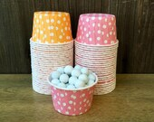 48 Orange, Pink and White Candy/Nut Cups - Birthday, Baby Shower Supply- Mini Cupcake Cups- Favor Cups-Wax Lined Portion Paper Cups