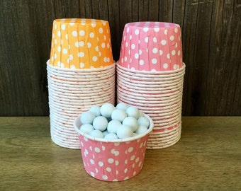 Orange and Pink Paper Snack Cups - Set of 48 - Polka Dot Candy Cup - Birthday Party - Mini Ice Cream Cup - Paper Nut Cup - Same Day Shipping