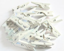 20 Mini White Pegs - 25mm - Wood Pegs - Christmas Pegs - Hanging Decoration - Card Holder - Miniture Clothespins - Wedding Pegs - OC113
