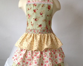 Girl's Apron and Chef's Hat, Girl's Apron, Chef's Hat, Ruffles, Rosebuds, Sage Green, Yellow, Country Girl