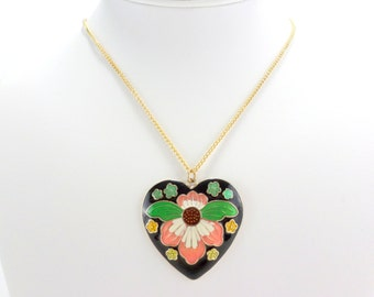 Orchid Necklace Pink Flower 18 Inch Black Heart White Cloisonne Vintage Necklace Jewelry