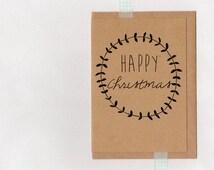 HAPPY CHRISTMAS . rustic greeting card . art card . wreath . kraft black . xmas holiday . australia wandarrah etsyau