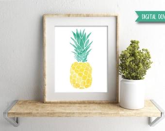Digital Download - Pineapple Print - Watercolor Print - Gallery Wall Art - Tropical Print - Tropical Wall Art - Beach Decor - Tropical Decor