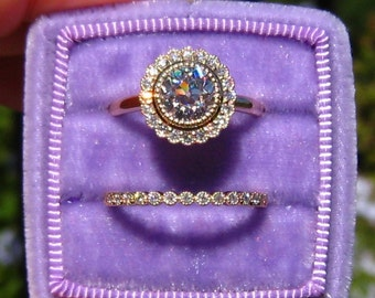 OEC Moissanite in Yellow Gold Engagement Ring with Daisy Diamond Halo, Moissanite Engagement Ring, Milgrain Bezel Wedding Band, Bridal Set
