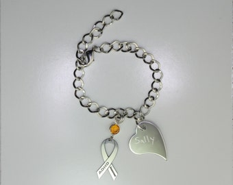 Personalized ADHD Awareness Ribbon Bracelet - Attention Deficit Hyperactivity Disorder - Heart Charm with Your Personalized Message