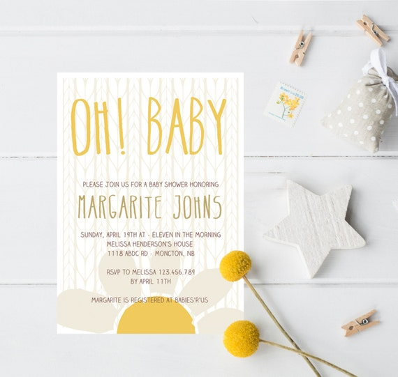 Daisy Baby Shower Invitation Printable By MelissaDanielleShop