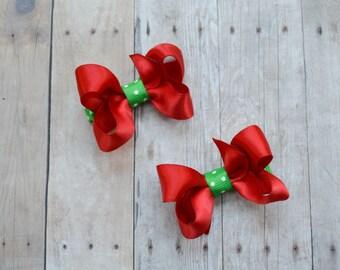 Ready to ship! Christmas bows, Small baby Christmas bows for baby girls, Christmas hair clips, hair bows
