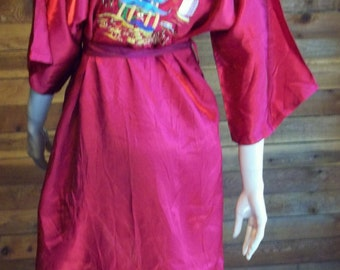 Vintage Lingerie 1940s HEALTH All Rayon Burgundy Small Robe or Kimono
