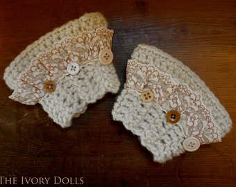 Mori Girl Wristlets Wrist Cuffs ~ Adorned with Vintage Lace and Buttons ~ SIZE M/L ~ Made to Order ~ Vegan Friendly ~ by The Ivory Dolls