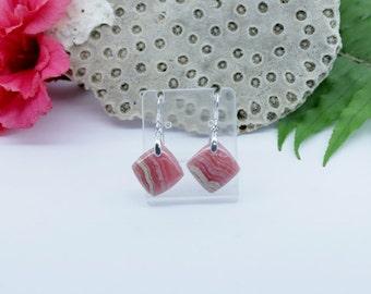 Pink Rhodochrosite Earrings  Semi Precious Gemstone jewellery  Rhodochrosite jewelry  Gemstone earrings  Womens earrings  Birthday gift idea
