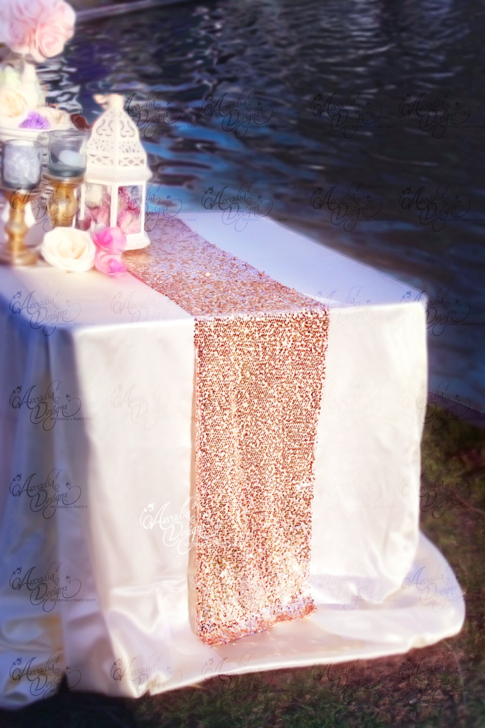 Rose gold sequin table runner glitter wedding table decor - Rosegold dekoration ...