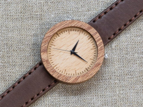 African Sapele minimal wood watch , Majestic Watch, Brown Vinage Genuine Leather strap + Any Engraving / Gift Box. Anniversary  gift