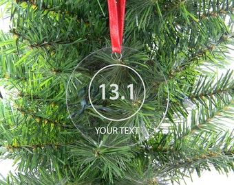 Personalized Custom 13.1 half marathon runner Clear Acrylic Christmas Tree Ornament