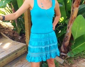 Vintage bebe Dress, Summer Dress, Turquoise Dress, Lace and Ruffles, Women's Clothing, Dress, bebe, Turquoise Clothing