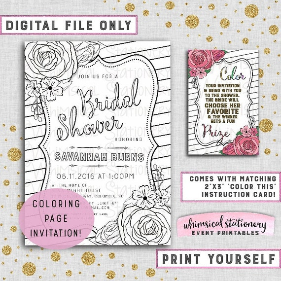 """Coloring Page Bridal Shower Invitation """"Striped Florals"""