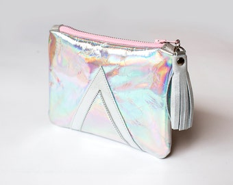 SALE - Holographic Bag, Hologram Leather Purse, Mermaid Shimmer Pouch, Iridescent Leather Purse, Silver Leather Tassel, Sample Sale