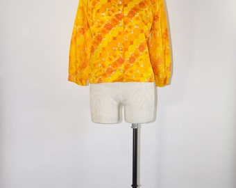 60s yellow floral blouse / 1960s boxy fit top / vintage circle print shirt