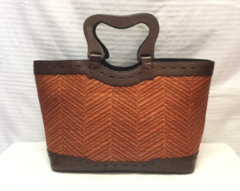Free Ship, Raffia Leather Purse, Wood Handle, Bag, Brown, Orange