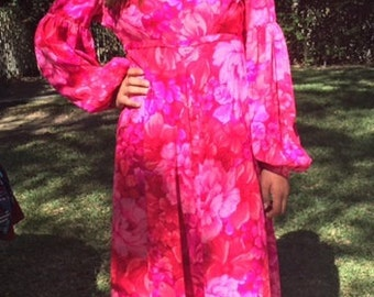 Maxi dress, long pink dress, hot pink XS,small, Kimono dress, 1960s,Hot pink, Kimo's, 1960s,Summer dress