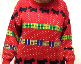 Ugly Christmas Sweater, Pullover ,sweater,large,Red Black yellow Scottish Terrier Puppy, Size L