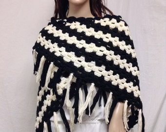 Large Knit Shawl ,Black,White,Fringed Wrap