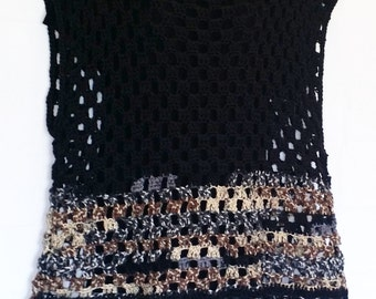 Black Multi Crochet Boho Hippie Sleeveless Sweater Top Size XL 1X 2X (0716IA) Handmade