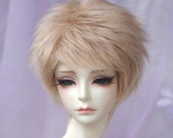 short golden blonde  BJD doll fur wig SD MSD yosd