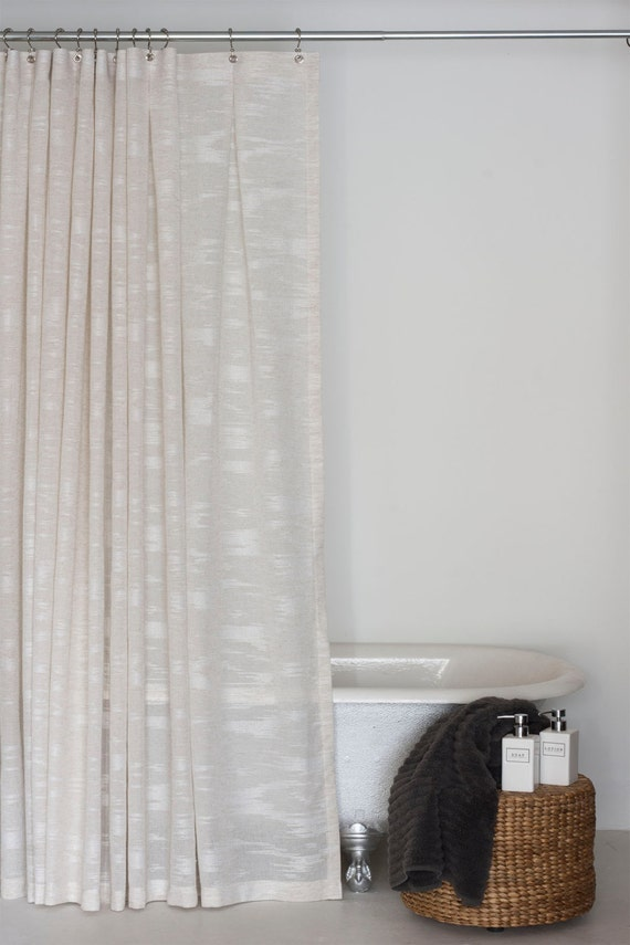 84 Linen Sheer Extra Long Shower Curtain By Emilyellingwood