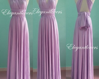Bridesmaid Dress Lavender Wedding Infinity Wrap Convertible Evening Cocktail Party Maxi Elegant Prom Custom Made Plus Size Bridal Dresses
