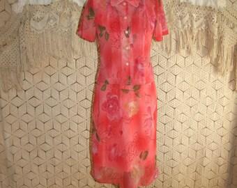 Peach Floral Dress Chiffon Dress Small Petite Midi Spring Dress Sleeveless Dress and Jacket Peach Dress Size 4 Dress Womens Clothing