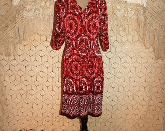Tribal Print Dress 3/4 Sleeve Day Dress Midi Dress Ruched Knit Dress Bohemian India Print Red Orange Size 12 Dress Large Womens Clothing