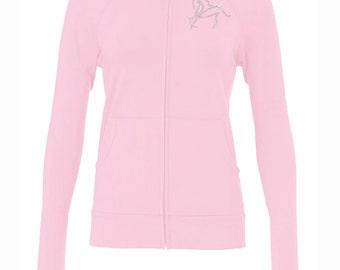 SALE!!! Horse Bling Zip Jacket, Equestrian Clothing Riding Jacket English Western Dressage Pink Rhinestone Long Sleeve