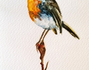 ORIGINAL Watercolor Postcard, Robin On A Branch Colorful Bird Illustration Painting 4x6 inch