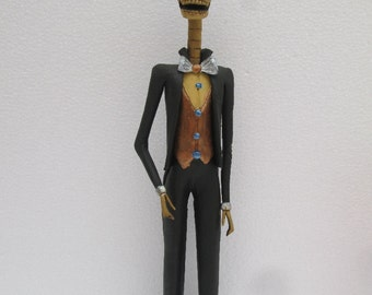"""MAN CATRINA male guy mexican men folk art hand made day of the dead groom 11"""""""