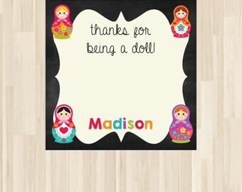 Russian Doll, Nesting Doll, Matryoshka, Babushka Doll, Doll Birthday - Gift Tag, Favor Tag