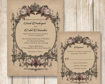 Goth Wedding Invitation, Halloween Wedding Invitations, Printable Vintage Wedding Invite, Vintage Blush Roses Wedding Invitation