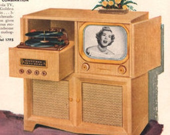 1950 Motorola Television print ad- Shows 3- beautiful models; Own The Best