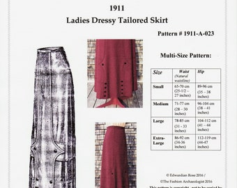 Digital Antique Pattern Multi-Sz ~ Lovely 1911 Edwardian Tailored Skirt ~ PDF w full instructions ~ print at home (Pattern#1911-A-023)