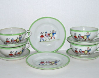 Vintage Children Toy Tea Set Dishes Boys Soldier Marching Band 10 Pieces
