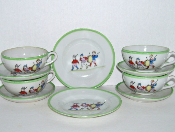 Toy Tea Sets For Boys : Vintage children toy tea set dishes boys soldier marching band