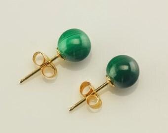 14k Gold Vintage Malachite Earrings