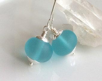 Aqua Sea Glass Earrings / Matte Glass Earrings / Cultured Sea Glass / Sterling Silver Earrings / Glass Dangles