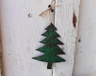 Tin Christmas Tree Ornament,rusty,repurposed gas can,rustic,holiday decoration,unique,christmas tree,vintage,home decor,metal